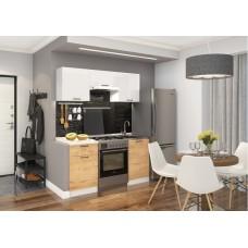 Кухня ДСВ Мебель Дуся-2 1,6м Белый бриллиант\Дуб бунратти