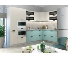 Модульная кухня Ройс Ваниль Софт/Зеленый Софт