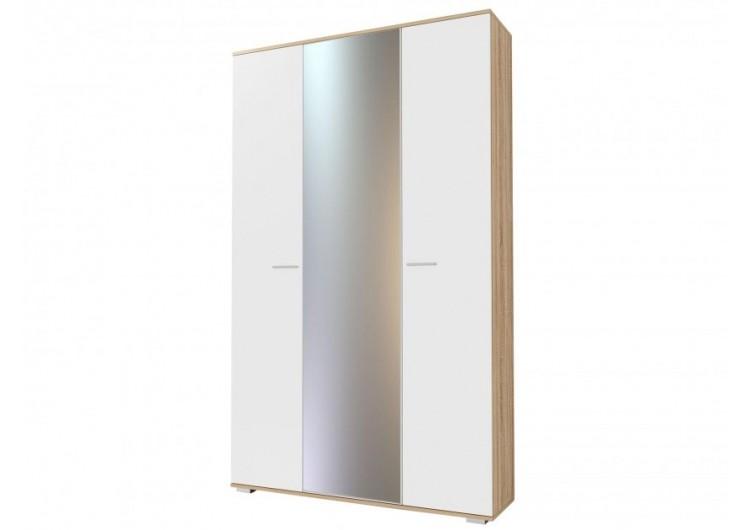 Шкаф трёхстворчатый с зеркалом ШК-1300 Италия глянец