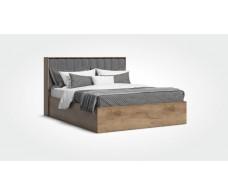 Кровать Люкс рогожка Malmo серая, крафт табачный + ПМ 160*200