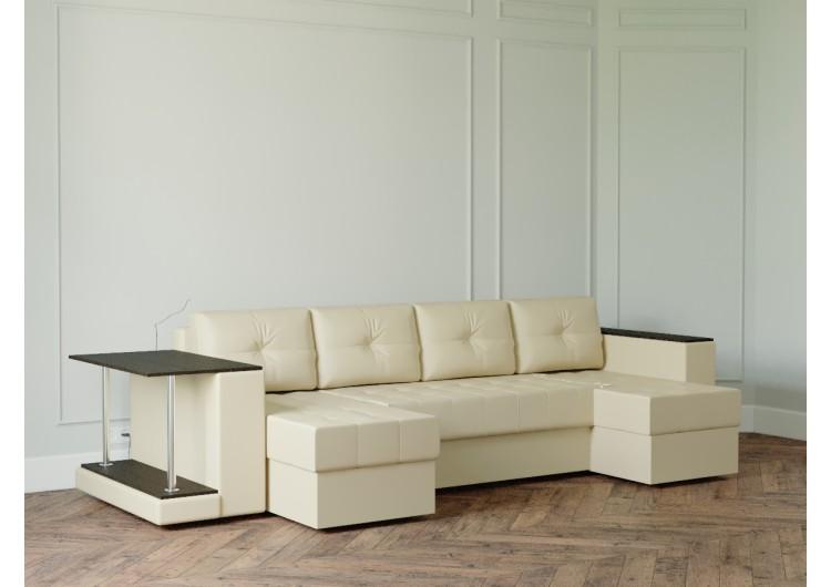 П-образный диван Craftmebel Ванкувер лайт с накладкой и столом
