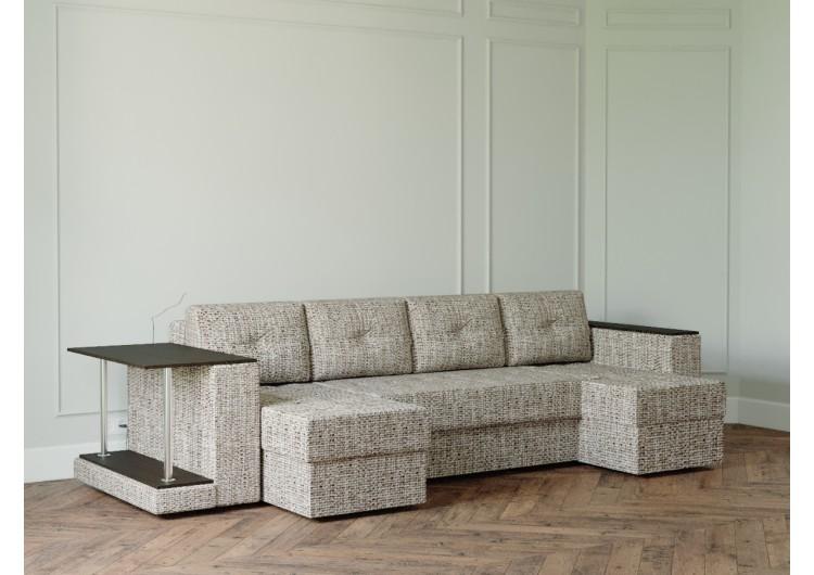 П-образный диван Ванкувер лайт с накладкой и столом