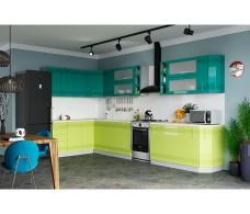 Кухня Интерьер-центр Вариант фасада Мокко Бирюза металлик/ Лайм глянец