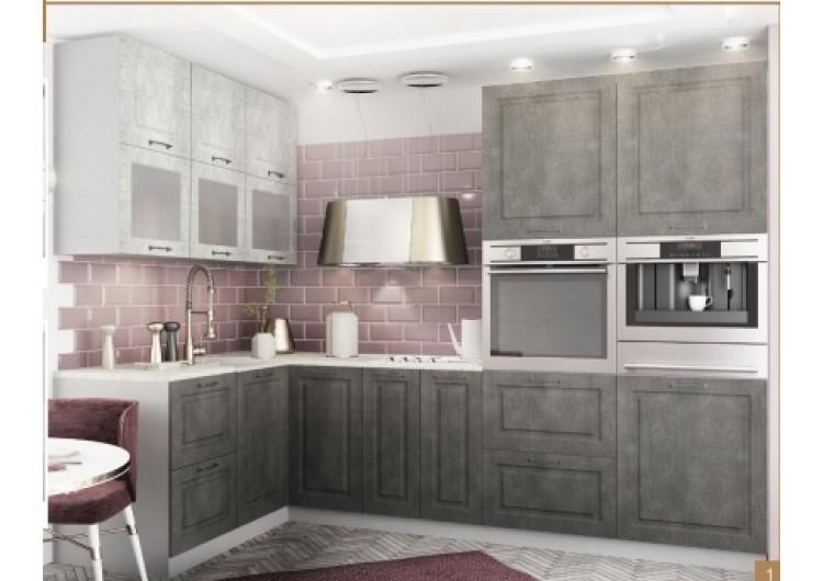 Кухня ДСВ Мебель Вариант фасада Капри Камень светлый/ Камень темный