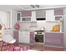Кухня ДСВ Мебель Вариант фасада Олива-2Белый металлик/Сирень металлик