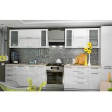 """Кухня Вариант фасада """"Олива-2""""  Белый металлик"""