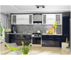 Кухня ДСВ Мебель Вариант фасада Олива-2 Белый металлик/Чёрный металлик