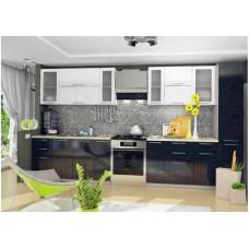 """Кухня Вариант фасада """"Олива-2"""" Белый металлик/Чёрный металлик"""