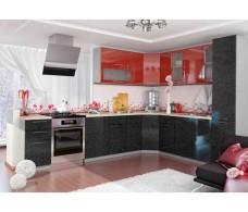 Кухня ДСВ Мебель Вариант фасада Олива-2 Гранат металлик/Чёрный металлик