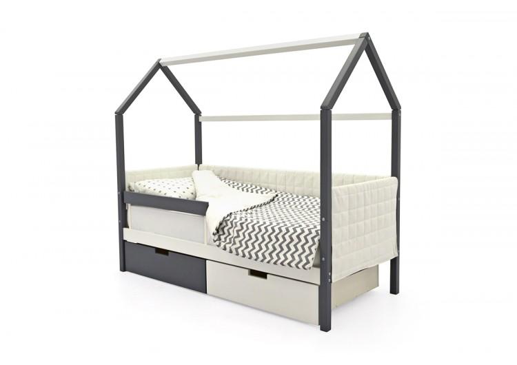 Детская кровать-домик мягкий  Svogen графит-белый