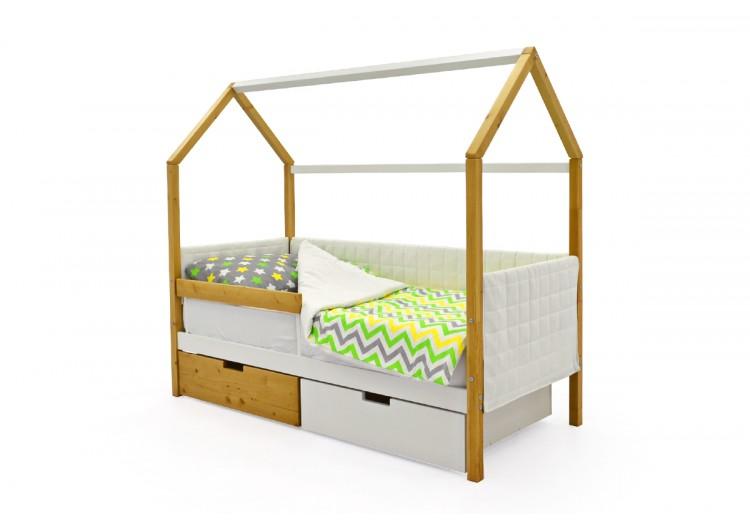 Детская кровать-домик мягкий Svogen дерево-белый