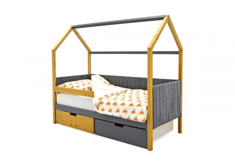Детская кровать-домик мягкий  Svogen дерево-графит