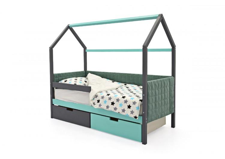 Детская кровать-домик мягкий Svogen графит-мятный
