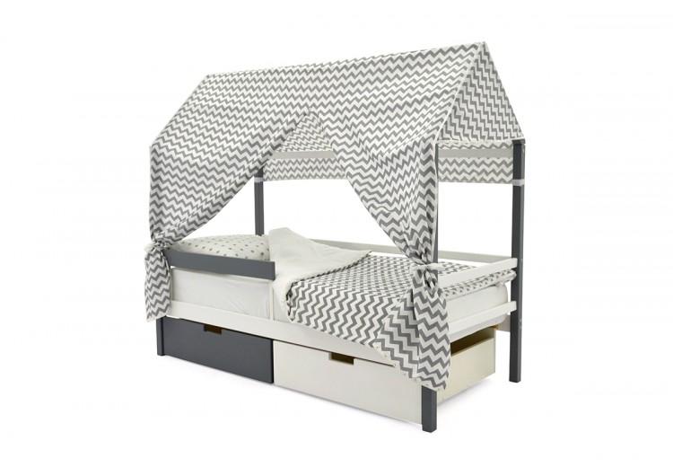 Детская кровать-домик Svogen графит-белый