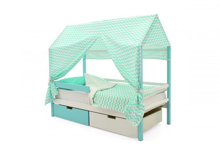 Детская кровать-домик  Svogen мятно-белый