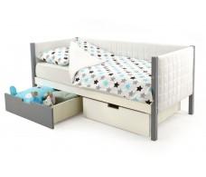 Детская кровать-тахта мягкая Svogen графит-белый