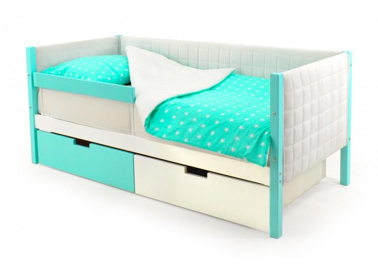 Детская кровать-тахта мягкая Svogen мятно-белый