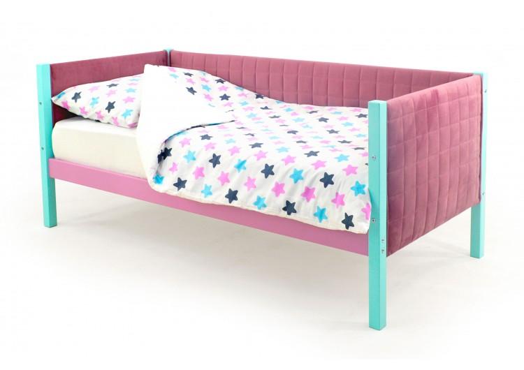 Детская кровать-тахта мягкая  Svogen мятный-лаванда