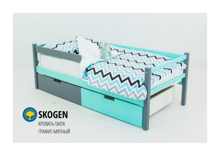 Детская кровать-тахта Svogen графит-мятный