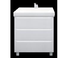 Тумба Кода 60Н 3в.я. Белый глянец, МДФ