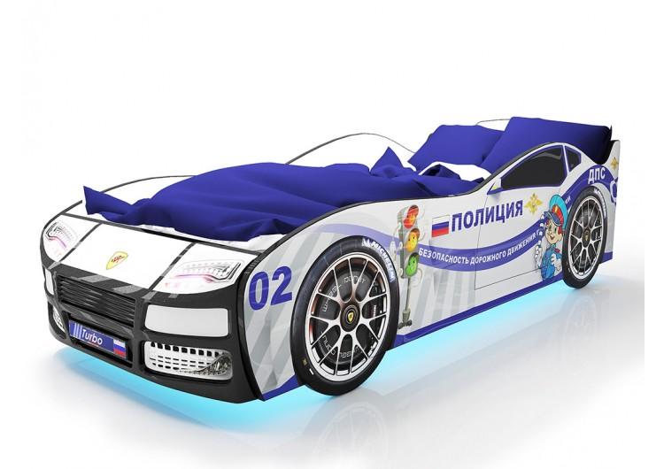 Детская кровать машина Турбо Полиция