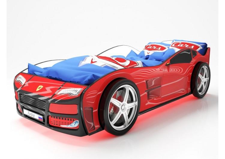 Детская кровать машина Турбо Красная
