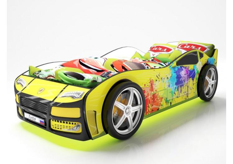 Детская кровать машина Турбо Желтая 2