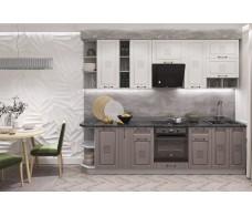 Кухня ДСВ Мебель Вариант фасада Опера Белый Патинa/Вуд патина