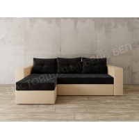 Угловой диван Константин черный вельвет/бежевая рогожка,угол левый