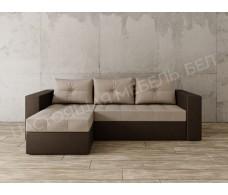 Угловой диван Константин бежевая рогожка/коричневая экокожа
