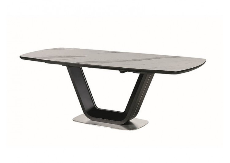 Стол обеденный Signal ARMANI Ceramic 160 раскладной (белый мат/черный мат)