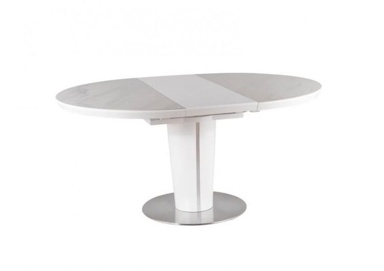 Стол обеденный Signal  ORBIT 120 раскладной (белый керамический/белый матовый)