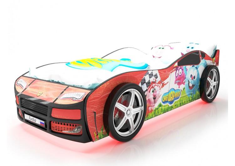 Детская кровать машина Турбо смешарики красная