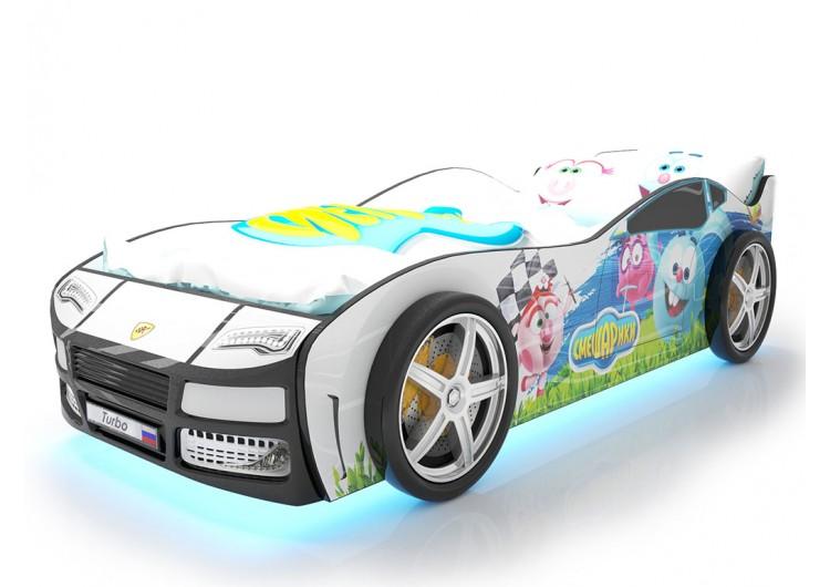 Детская кровать машина Турбо смешарики белая