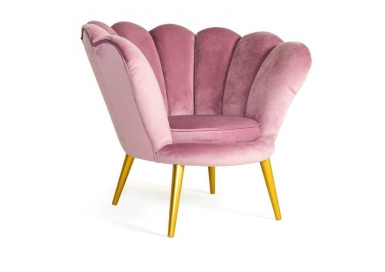 Кресло SIGNAL MAGNOLIA VELVET Bluvel52, античный розовый/золотой NEW 2