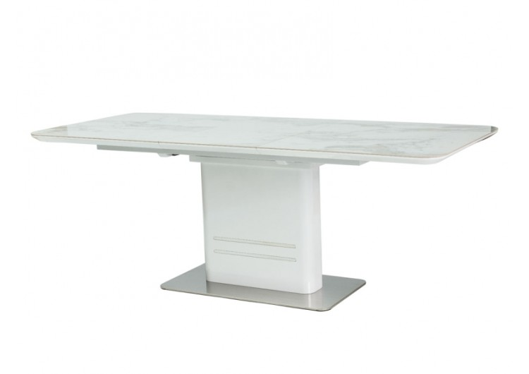 Стол обеденный Signal CARTIER Ceramic 160 раскладной (мрамор/белый лак)