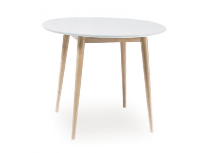 Стол обеденный Signal  LARSON 90 (белый/дуб беленый)