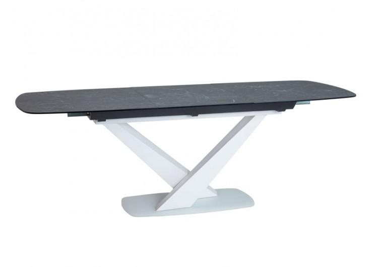 Стол обеденный Signal CASSINO II Ceramic 160 раскладной (графит мрамор/белый)