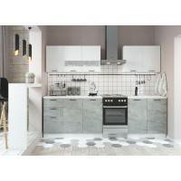 Кухня ДСВ Мебель Дуся 2,0м Белый бриллиант\Цемент