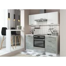 Кухня ДСВ Мебель Дуся-2 1,6м Белый бриллиант\Цемент