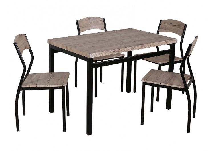 Комплект SIGNAL ASTRO (стол обеденный+ 4 стула) дуб/черный, 110/70/76 New