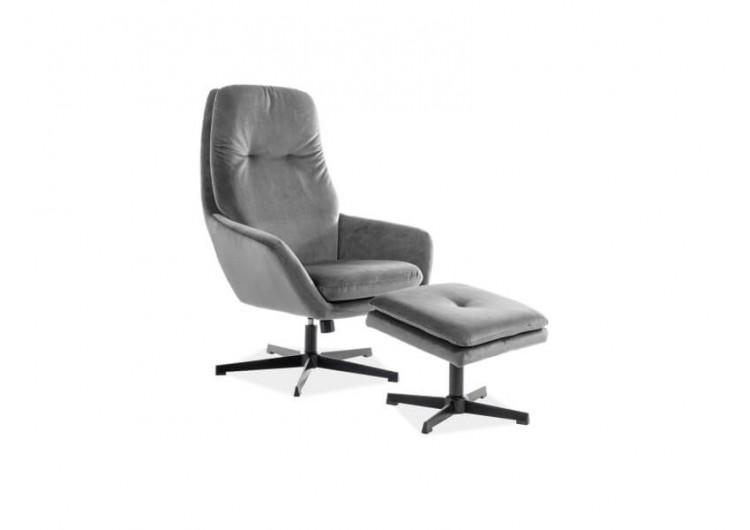 Комплект SIGNAL FORD VELVET BLUVEL 14 (кресло+подставка для ног) серый