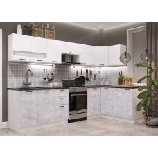 Модульная кухня Дуся Белый бриллиант\Цемент