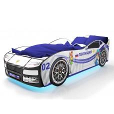 Детская кровать машина Турбо Полиция с подъемным матрасом