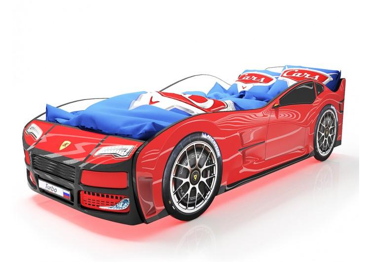 Детская кровать машина Турбо Красная с подъемным матрасом