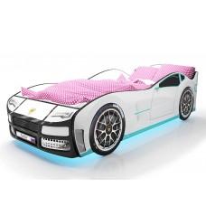 Детская кровать машина Турбо Белая с подъемным матрасом