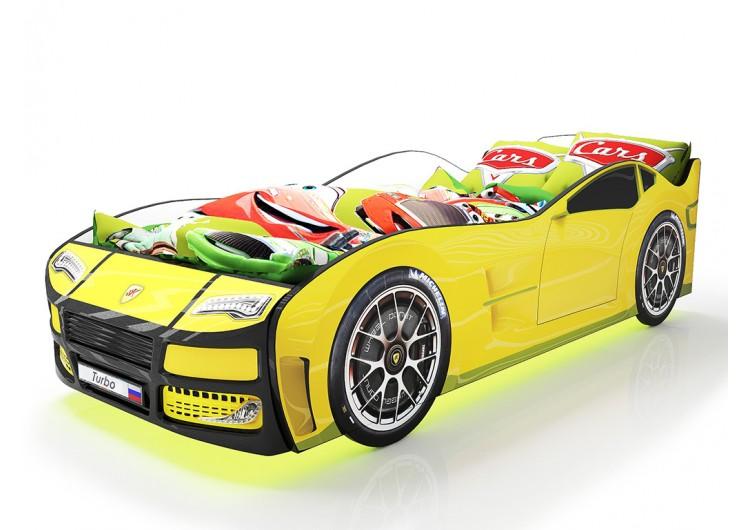 Детская кровать машина Турбо Желтая с подъемным матрасом