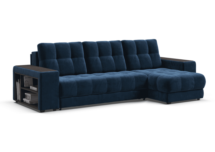 Диван BOSS XL угол NEW велюр Monolit синий