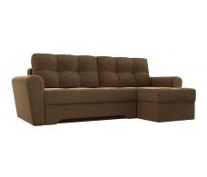 Угловой диван Амстердам коричневый вельвет/коричневая экокожа