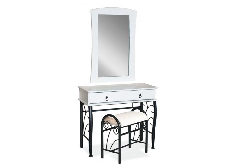 Комплект 1102 (стол туалетный+ табурет) бело\черный